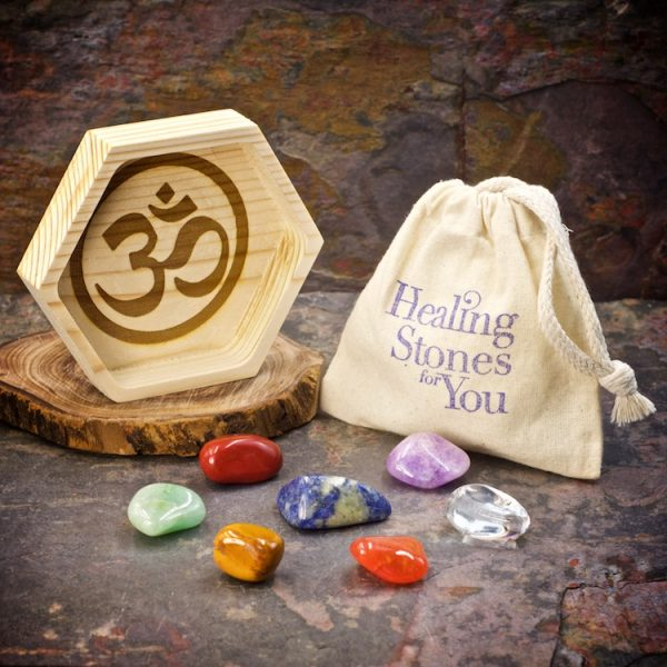 Basic Chakra Balance Set with 7 Crystals and Wood Dish by Healing Stones for You