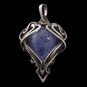 Healing Stones for You Tanzanite Wire Wrapped Pendant - Dark Nebula