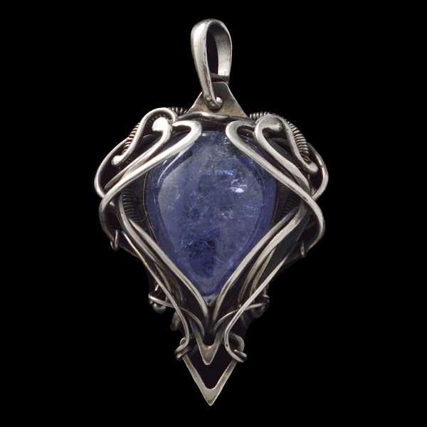 Healing Stones for You Tanzanite Wire Wrapped Pendant - Dark Nebula