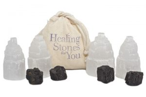 Selenite and Black Tourmaline Home Protection Set by Healing Stones for You