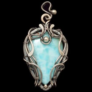 Healing Stones for You Larimar Wire Wrapped Pendant - Brizo