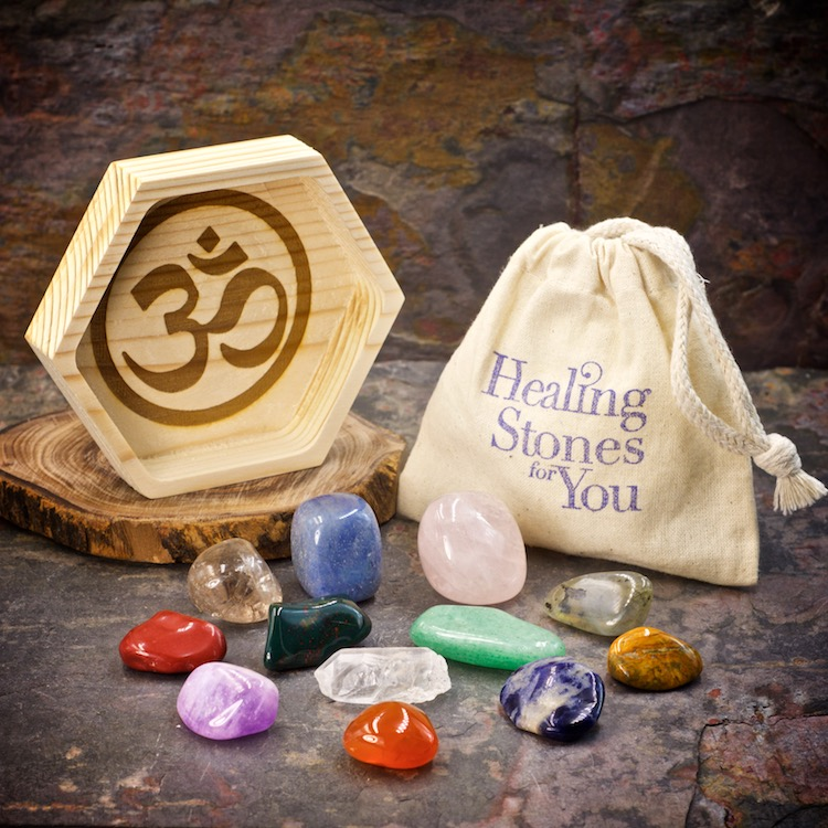 Essential Chakra Alignment Set with 12 Crystals and Wood Dish by Healing Stones for You