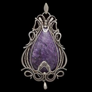 Healing Stones for You Charoite Wire Wrapped Pendant 'Zuleyka'
