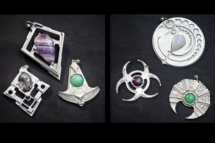 Sci-Fi Inspired Aluminum Pendants by Healing Stones for You