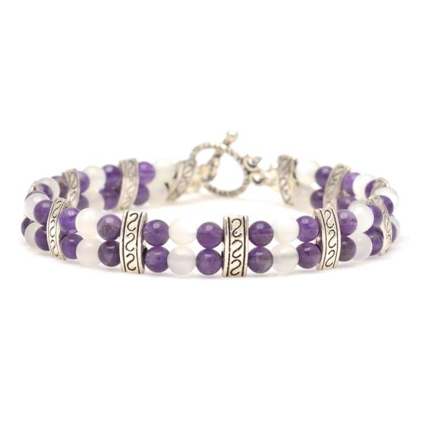 "Amethyst / Moonstone ""Psychic Gifts"" Double Power Bracelet"