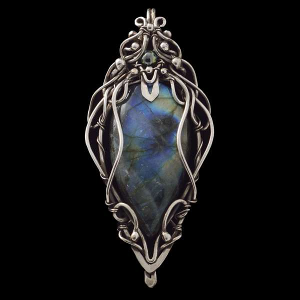 Labradorite Wire Wrapped Pendant 'Night Shadows'