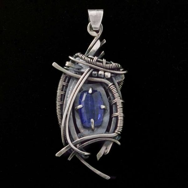 Kyanite Wire Wrapped Pendant 'Dark Night'