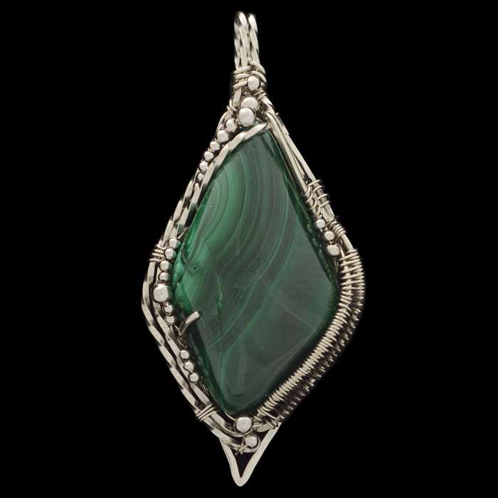 Malachite Wire Wrapped Pendant Caldera by Healing Stones for You