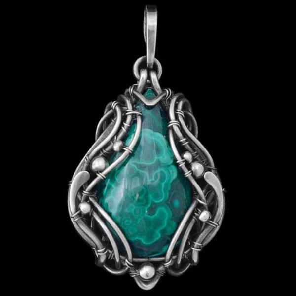 Malachite Wire Wrapped Pendant 'Isis'