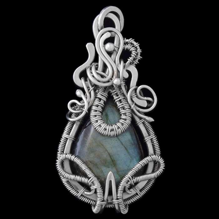 Labradorite Wire Wrapped Pendant 'Vesta'