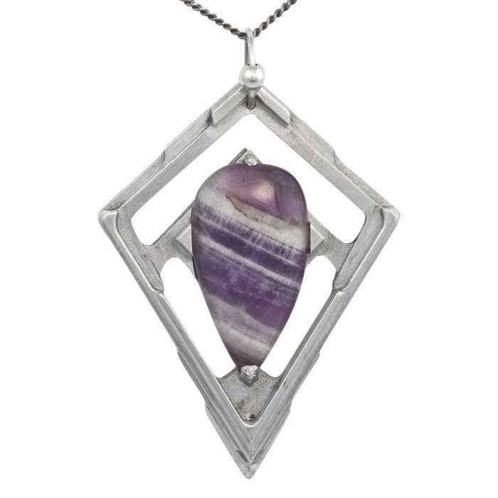 Chevron Amethyst Pendant Tranche by Healing Stones for You