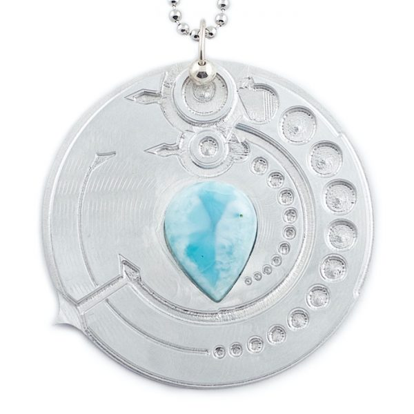 Larimar and Aluminum Pendant 'Avebury Circle' by Healing Stones for You