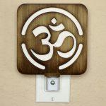 Om Symbol Night Light in Shou Sugi Ban (Yakisugi) technique by Healing Stones for You