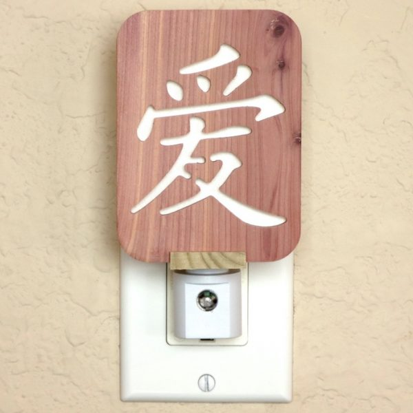 Chinese Love Symbol Night Light in Cedar by Healing Stones for You