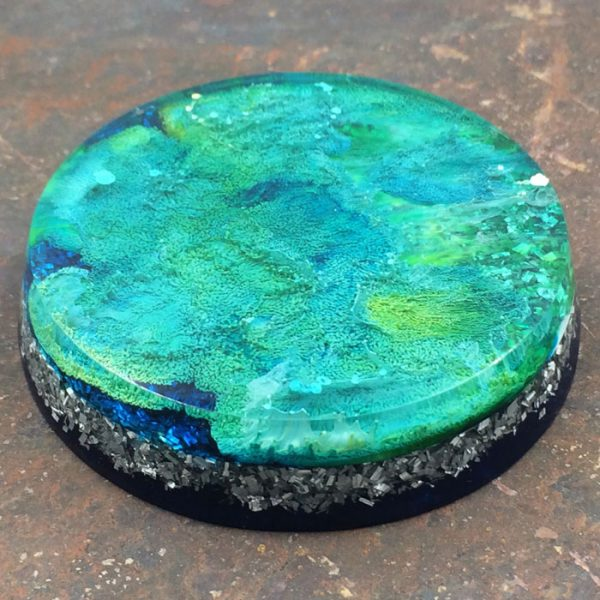 Orgonite® Energy Charging Plate with Azurite Malachite and Aluminum by Healing Stones for You