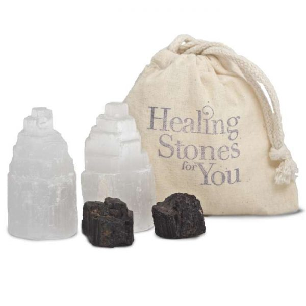 Selenite and Black Tourmaline Room Protection Sets by Healing Stones for You