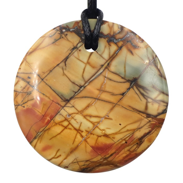 Red Creek Jasper Double Sided Large Circle Pendant by Healing Stones for You