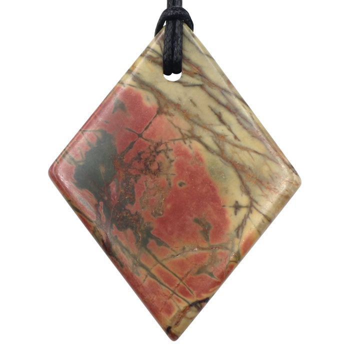 Red Creek Jasper Large Double Sided Diamond Pendant by Healing Stones for You
