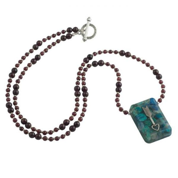 Chrysocolla Suspension Pendant with Garnet and Sterling Silver Beads by Healing Stones for You