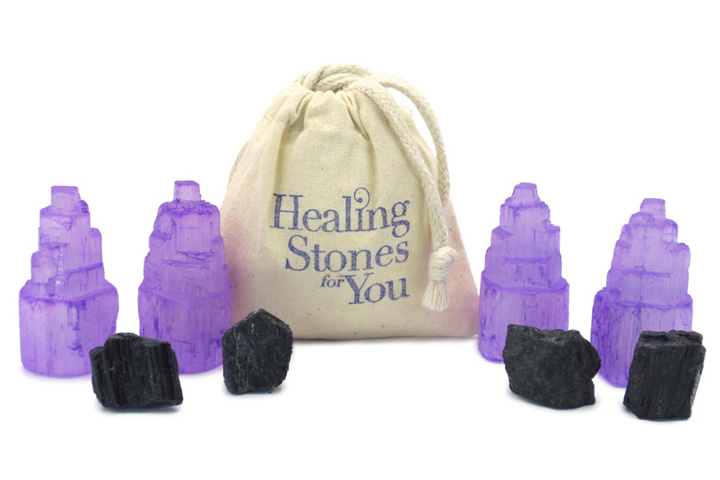 Violet Shield Home Protection Set with Selenite and Black Tourmaline