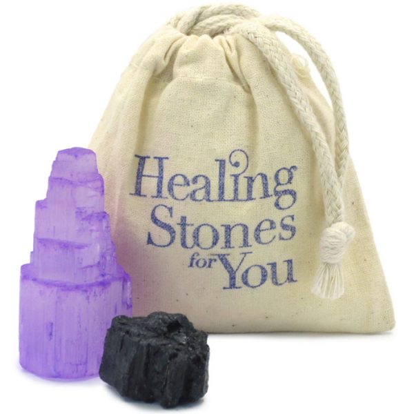 Violet Shield Selenite and Black Tourmaline Room Protection Set by Healing Stones for You