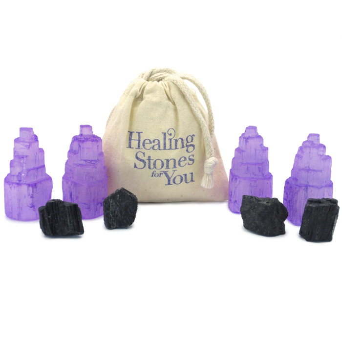 Violet Shield Selenite and Black Tourmaline Home Protection Set from Healing Stones for You