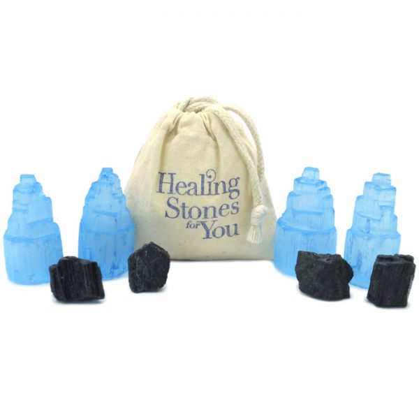 Blue Aura Selenite and Black Tourmaline Home Protection Set from Healing Stones for You