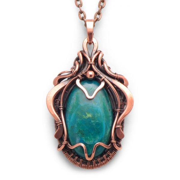 Chrysocolla Wire Wrapped Pendant Elara from Healing Stones for You