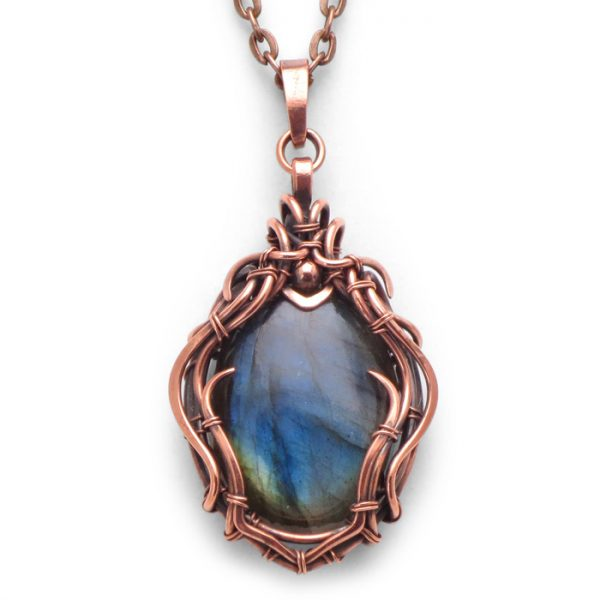Labradorite Wire Wrapped Pendant 'Thalia' from Healing Stones for You