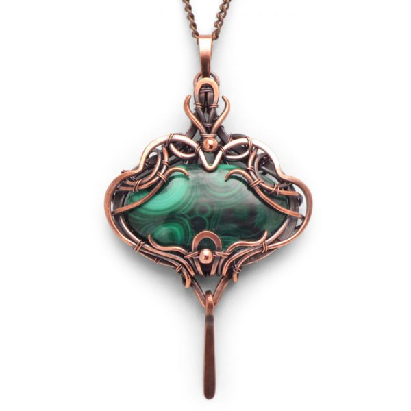Malachite Wire Wrapped Pendant Beiwen from Healing Stones for You