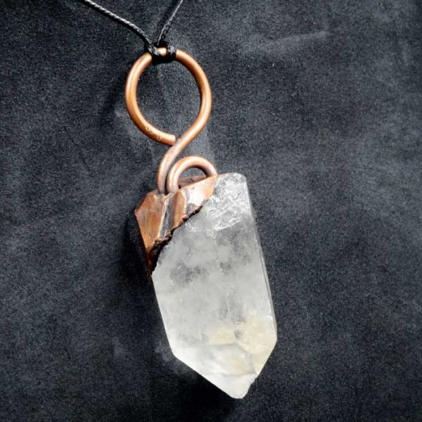 Clear Quartz Crystal Polished Rough Electroformed Pendant