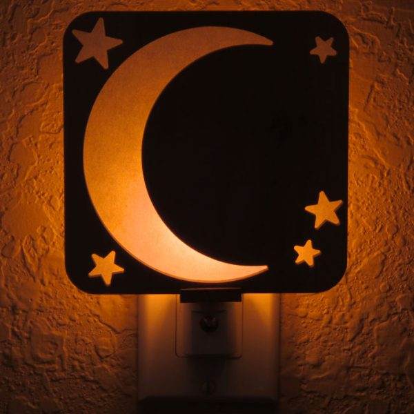 Crescent Moon and Stars Night Light by Healing Stones for You
