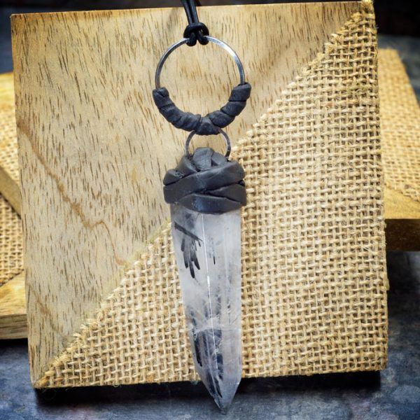 Tourmalinated Quartz Crystal Pendant from Healing Stones for You