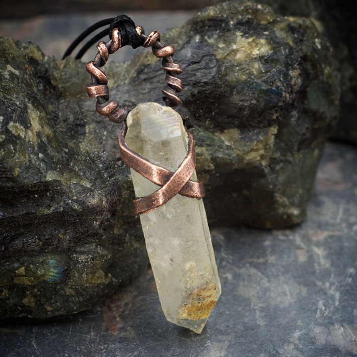 Rough Quartz Crystal Electroformed Pendant by Healing Stones for You