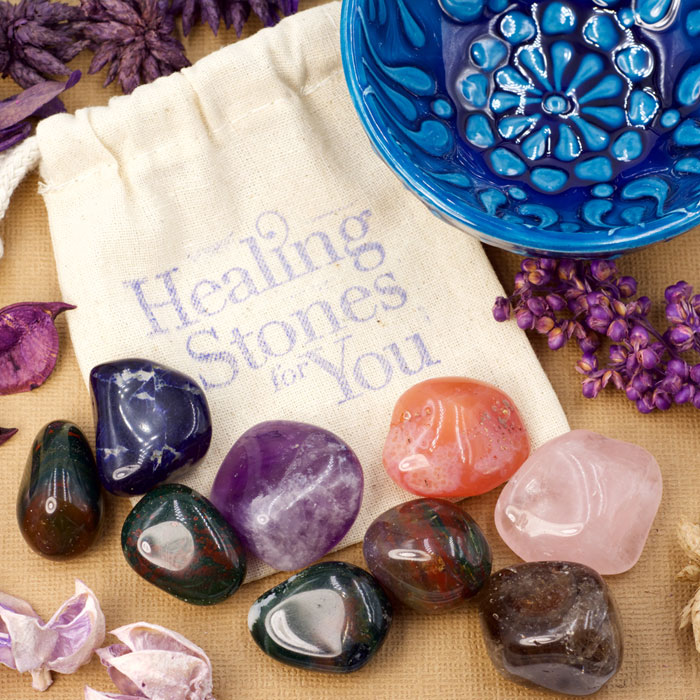 Home Protection Stone Set B with Mandala Bowl from Healing Stones for You