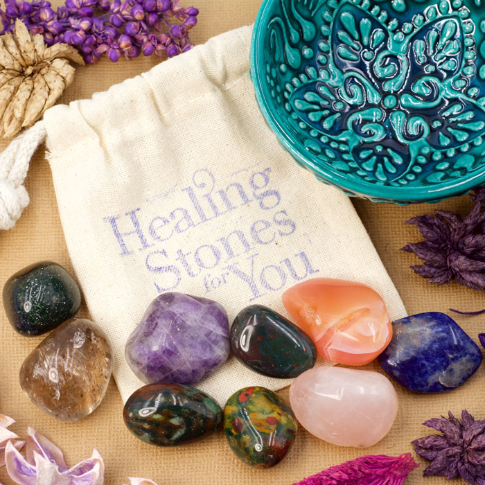 Home Protection Stone Set C with Mandala Bowl from Healing Stones for You