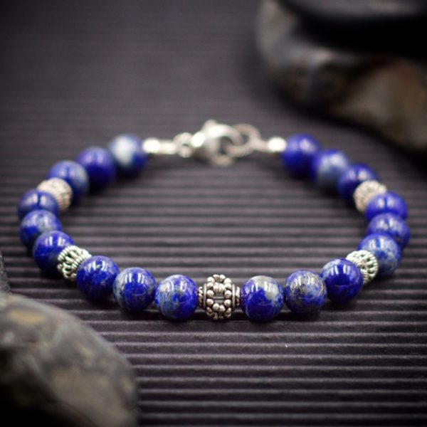 Lapis Lazuli Sterling Silver Bracelet by Healing Stones for You