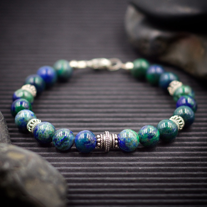 Azurite with Malachite Sterling Silver Bracelet by Healing Stones for You