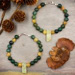 Moss Agate and Gold Rutilated Quartz Bracelet by Healing Stones for You