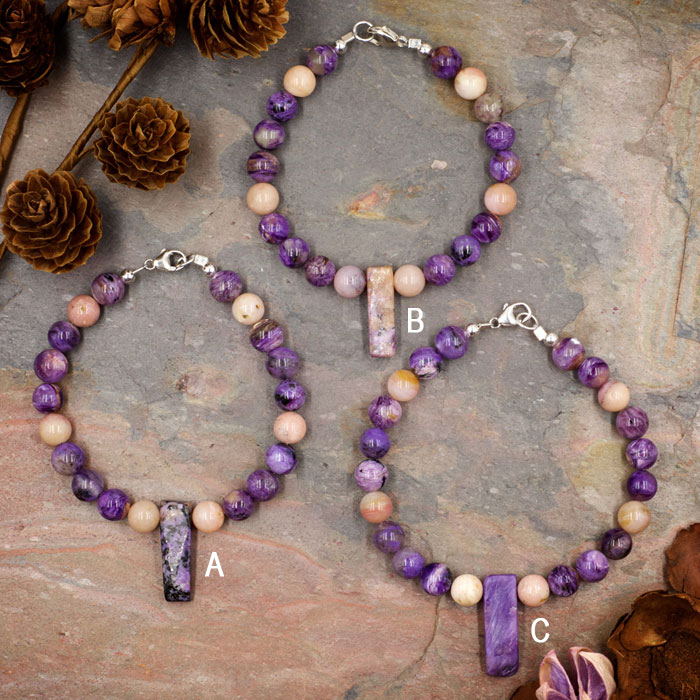 Charoite and Pink Opal Bracelet by Healing Stones for You