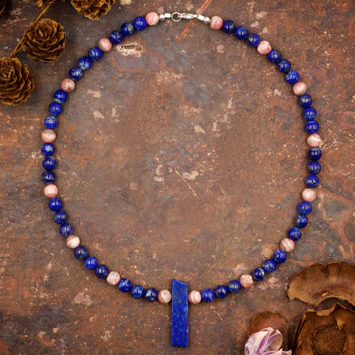 Lapis Lazuli and Rhodochrosite Necklace by Healing Stones for You