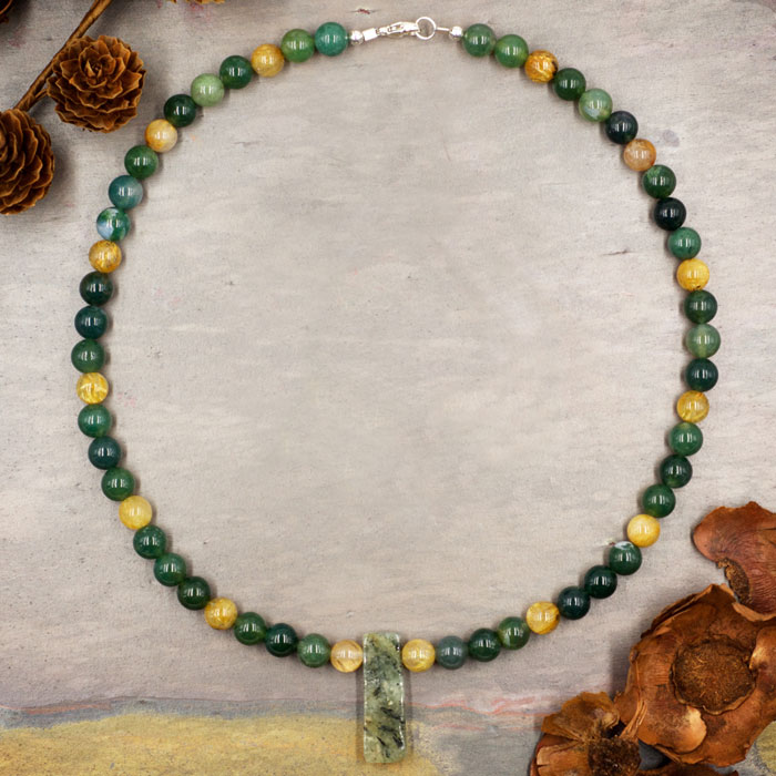 Moss Agate and Gold Rutilated Quartz Necklace by Healing Stones for You