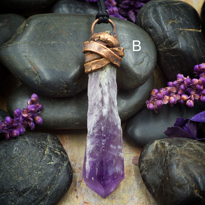 Amethyst Rough Point Electroformed Pendant from Healing Stones for You