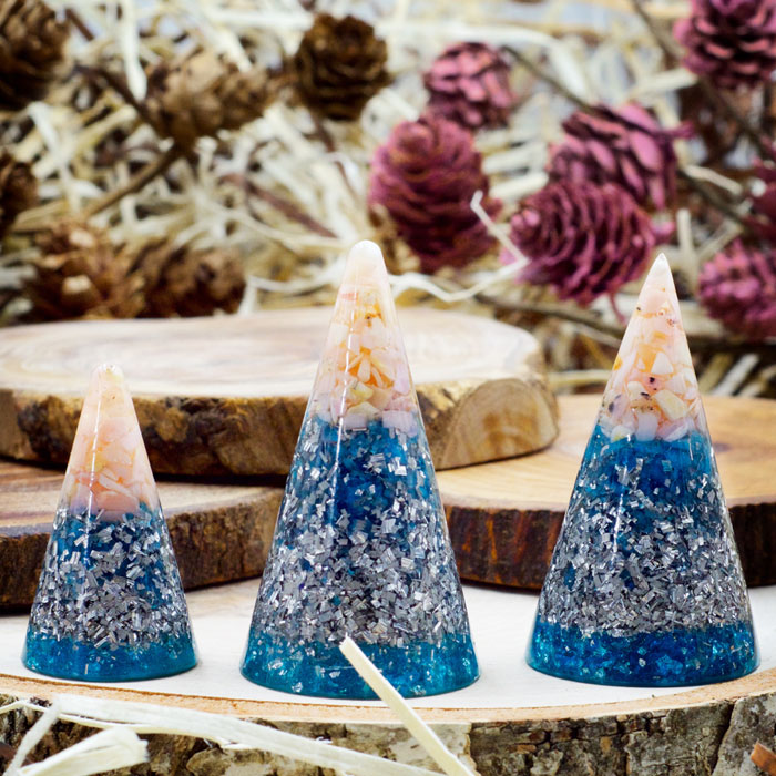 Orgonite® Ring Cones with Pink Opal by Healing Stones for You