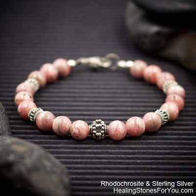 Rhodochrosite and Sterling Silver Bracelet from Healing Stones for You