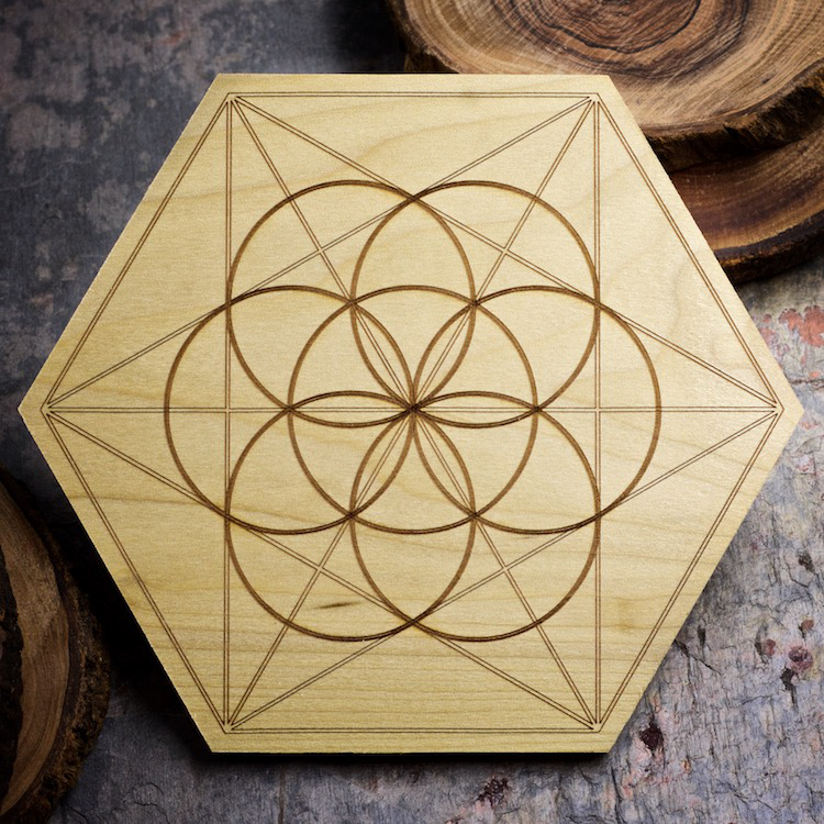 Seed of Life 6 inch Mini Grid Board by Healing Stones for You