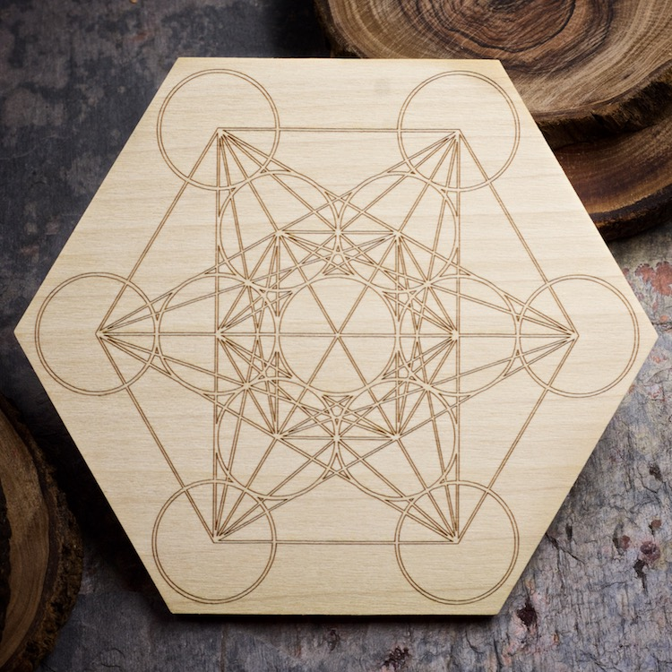 Metatrons Cube 6 inch Mini Grid Board by Healing Stones for You