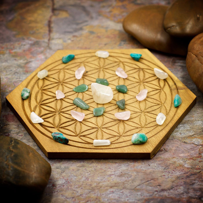 Overcome Heartache Mini Crystal Grid Set by Healing Stones for You