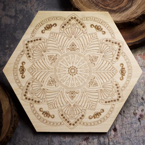 Flower Mandala 6 inch Mini Grid Board by Healing Stones for You