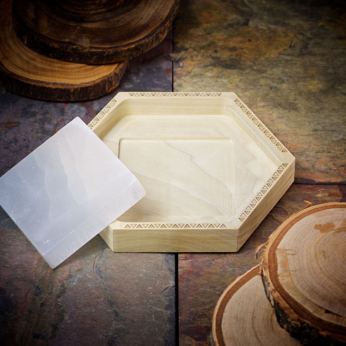 Crystal Charging Tray with Selenite Square by Healing Stones for You